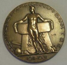 Nude Champion on Hungarian Trade Bank art deco medal,tennis,1932.50mm
