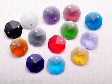 10pcs 14mm 2 Holes Octagon Faceted Crystal Glass Charms Loose Beads Mixed Colors