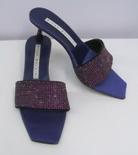 DIEGO DOLCINI CRYSTAL SHOES PURPLE SILK AND ENCRUSTED WITH CRYSTALS 37 7 1/2