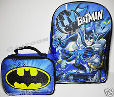 "BATMAN SCHOOL BACKPACK 16"" AND LUNCH BAG SET INSULATED DC COMICS NWT BOYS GIFT"