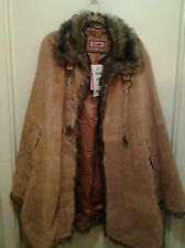 Genuine Suede Cape with faux fur collar/trim ~ Women 3X, Ginger NWT