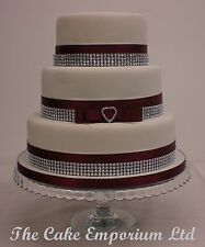 WEDDING CAKE LOVE HEART RHINESTONE BUCKLE – SATIN/DIAMANTE RIBBON CAKE TOPPER