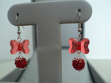 SHAMBALLA CRYSTAL BEADS W/ACRYLIC BOW EARRINGS (RED) ITEM# RR 9500