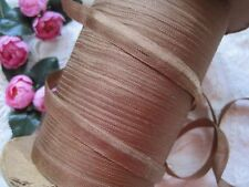 VINTAGE / ANTIQUE FRENCH TINY DOLL SIZE COCO BROWN RAYON RIBBON 4 YARDS