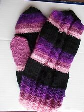 Hand knitted 100% wool mittens, black/pink/purple tones  (size L)