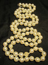 """BEAUTIFUL VTG 14K GOLD GENUINE CULTURED PEARL HAND KNOTTED 35"""" NECKLACE ESTATE"""