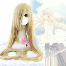 Eruda Chobits Tangled Extra Long Straight Blonde Beige Cosplay Full Wig USA Ship