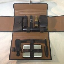 Mens Travel Grooming Kit Leather Case VTG Shaving Set Brush Kit Toiletry Mirror