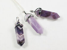 Healing Amethyst deep  Crystal Point pendant - Protection, Psychic ability