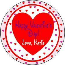24 stickers Birthday Party 1.67 Inch Personalized valentines day heart class