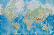 World map photo wallpaper - relief like map mural - XXL miller projection