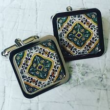 Unique TRADITIONAL SPANISH TILE CUFFLINKS chrome GREEN moroccan ALHAMBRA spain