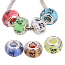 100x Assorted Color Skull Head Pattern Resin Bead Findings Fit European Charms L