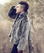 Winter Faux Fur Furry Warm Men's Fashion Trench Coat Jacket Outwear Overcoat USL