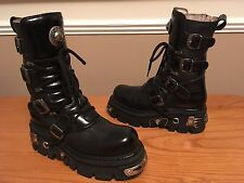NEW ROCK REACTOR Goth Biker black leather chunky buckle boots unisex UK 9 EU 43