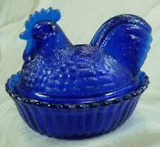 "5"" Rooster On Nest Cobalt Blue Glass Split Tail W/G Candy Dish"