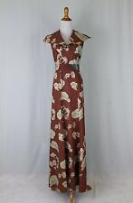Vintage 1930's Bespoke Gored Floral Print Cotton Resort Dress Halter Gown XS