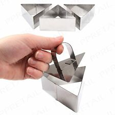 3 x LARGE ROSTI FOOD RINGS TRIANGLE SET STAMP PRESS MOULD SHAPER STAINLESS STEEL
