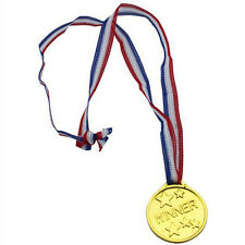 30x Children Gold Plastic Winners Medals Sports Day Awards Toys Party Bag Prize