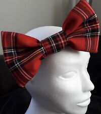 "HEADBAND WITH LARGE RED TARTAN ROYAL STEWART 7""  BIG HAIR BOW LADIES GIRLS NEW"