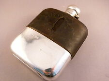 Silver Hip Flask with Leather Cover, Sheffield 1903, Charles Henry Hattersley