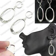 CLIP ON oval HAMMERED HOOP EARRINGS retro SILVER FASHION textured hoops CLIPS