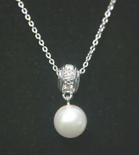 "Mikimoto Blue Lagoon 14K WG Diamond 7mm Pearl 16"" Necklace"