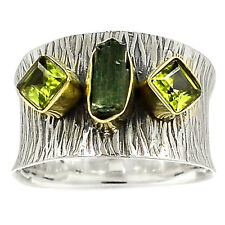 Two Tone - Green Tourmaline Rough 925 Sterling Silver Ring Jewelry s.7 SR213498