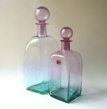Gorgeous Pair of Carlo Moretti Murano Glass Decanters, Modernist Turquoise Pink