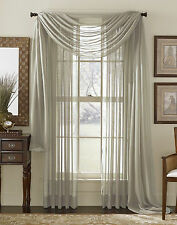 1 pcs SILVER  Scarf Voile Window Panel Solid sheer valance curtains