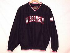 Wisconsin Badgers black pullover stitched poly jacket / men M / normal use / b10