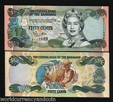 BAHAMAS 1/2 P68 2001 Half Dollar FISH QUEEN UNC CARIBBEAN CURRENCY MONEY NOTE
