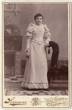 YOUNG LADY IN BEAUTIFUL DRESS BY SIMMONS, WATERLOO, IA, CABINET CARD