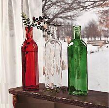 Long Stem Flower Bottle Vases Green Clear Red Christmas Jars Glass Vase 3-PC Set