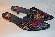 Chico's Embroidered Tapestry Slip On Heels Slides Black Floral sz.7