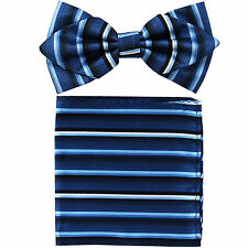 New in box formal Men's Diamond Shape Pre-tied Bow Tie & Hankie White Blue Black