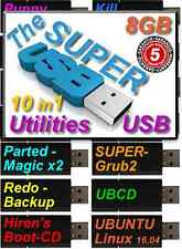 HIRENS 15.2 Boot USB 8gb REPAIR RECOVER WIN7/8/10 Clone Wipe VIRUS REMOVAL+Utils