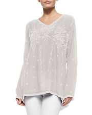 NWT Johnny Was 1X Women's Plus Size VINE Embroidered Tunic Top WHITE