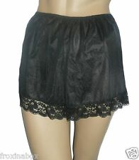 Black True Vintage Style French Knickers Lace Trim Size 18/20 Textured Satin