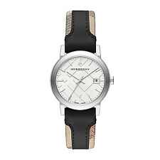 NWT Burberry Women's watch City Haymarket Check Black Leather 34MM BU9150 $395