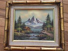 Vintage Estate Original Oil Painting Landscape Mountains Log Cabin Signed