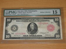 1914 $10 Rare Red Seal FRN PMG 15 Choice Fine from the Rickey Collection