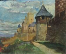 Vintage French Oil Painting, Medieval Fortress of Carcassonne, Chateau, Signed