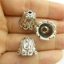 19052 10pcs Antique Silver Bell Leaf Filigree Tassel End Cap Jewelry Findings