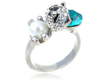 Genuine Crystal Elements Faux Pearl Bead Asian Sad Panda Bear Adj Ring WB