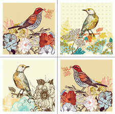 4 Vinyl Tile/Wall Decal Stickers - Flower Bird Design Decor, For Any Room - 10cm