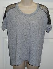 a.n.a. black gray heather silver metallic short sleeve top t-shirt tee medium