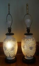 VTG Pair Studio Pottery Basket Table Lamp White Daisies Lit Base Butterfly