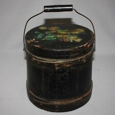 Antique PRIMITIVE WOODEN FIRKIN PANTRY BOX Original Black Paint Folk Art AAFA