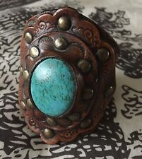 Gorgeous Free People Turquoise Leather Stone Button Cuff Bracelet